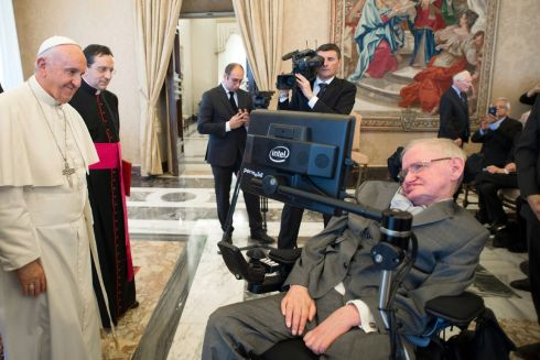 Pope Francis greets physicist Stephen Hawking during an audience with participants at a plenary session of the Pontifical Academy of Sciences, at the Vatican. Photograph: L'Osservatore Romano/pool photo via AP
