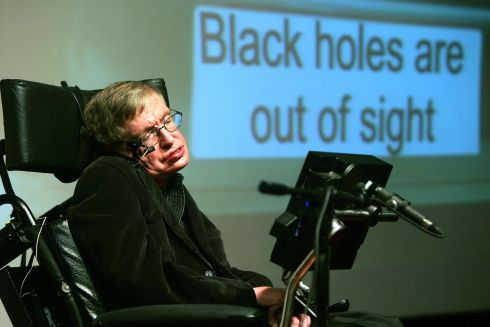 British scientist Stephen Hawking gives a lecture at the Bloomfield Museum of Science in Jerusalem on December 10, 2006. Photograph: Menahem Kahana / AFP