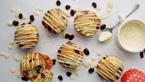 Vanessa Greenwood's cranberry and white chocolate muffins. Photograph: Harry Weir