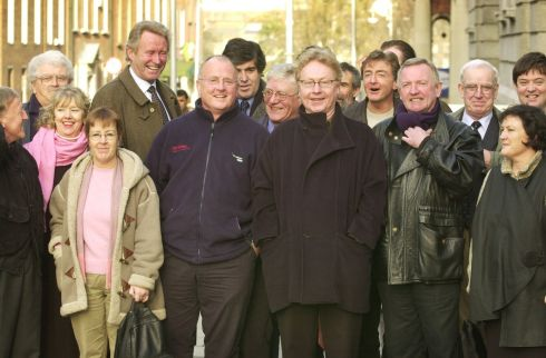 Some of Ireland's leading folk musicians outside Leinster House in 2002 during a protest against article 21 of the new Arts Bill. Among the group were (front row from left) Paddy Moloney, Triona Ni Dhomhnaill, Christy Moore, Paul Brady, Liam O Flynn and Maighread Ni Dhomhnaill. Photograph: Frank Miller / The Irish Times