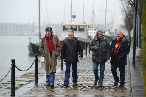 Traditional musicians (from right) Liam O'Flynn,  Andy Irvine, Paddy Glackin and Donal Lunny, pictured at  Grand Canal Dock, Dublin in 2013.  Photograph: Dara Mac Donaill / The Irish Times