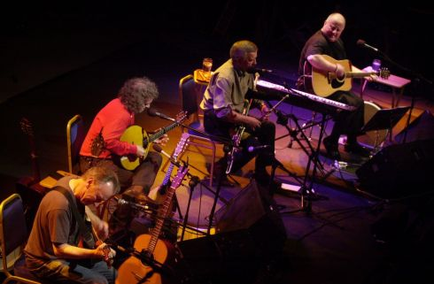 Four members of re-formed Planxty Donal Lunny, Andy Irvine, Liam Óg O Flynn, and Christy Moore playing the first of ten nights at Vicker street in 2004.    Photograph: Alan Betson / The Irish Times