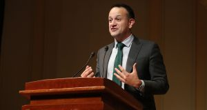 Taoiseach Leo Varadkar speaking at a Belfast Agreement 20th-anniversary event held at the Library of Congress in Washington, on Wednesday. Photograph: Niall Carson/PA Wire