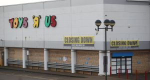 Closing down signs are seen outside the Toys R Us store in Coventry, England. Photograph: Reuters