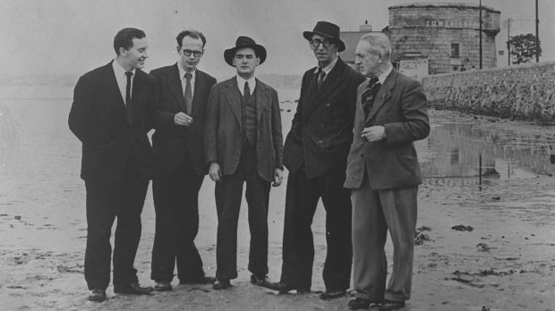 John Ryan, Anthony Cronin, Brian O'Nolan, Patrick Kavanagh and Tom Joyce on Sandymount Strand, Bloomsday 1954