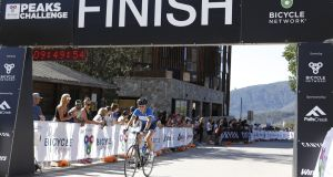 Sonia O'Sullivan crosses the finish line of the Peaks Challenge Falls Creek