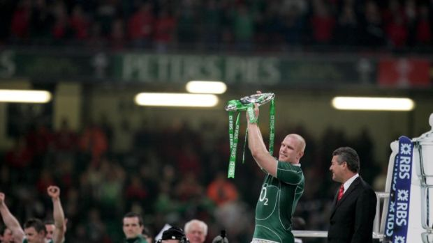 Paul O'Connell with the Triple Crown. Photograph: Morgan Treacy/Inpho