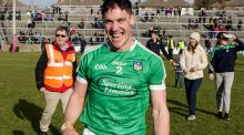Limerick's Sean Finn shows his delight after the victory over Galway at Pearse Stadium which sealed promotion for the visitors. Photograph Laszlo Geczo/Inpho