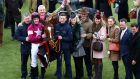 Michael O'Leary, Gordon Elliott and Jack Kennedy with Samcro celebrate after winning the Ballymore Novices' Hurdle at Cheltenham on Wednesday. Photograph: Michael Steele/Getty Images