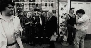 Stan Gebler Davies, Gloria MacGowran, Francis Bacon and Garech Browne at The French House, Soho, London in the 1970s. Photograph: Christie's Images