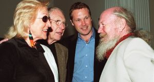 Anne Madden, Louis le Brocquy, his son, Pierre and Garech Browne at the opening of the Francis Bacon exhibition at the Municipal Gallery of Modern Art.