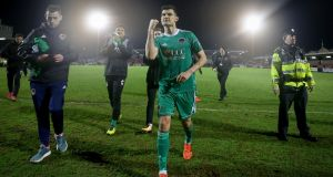 Graham Cummins celebrates after Cork City defeated St Patrick's Athletic. Photograph: Oisin Keniry/Inpho