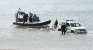 Members of the Garda Under Water Unit  search at Skerries harbour after a fishing boat sank on May 26th, 2017. Photograph: Alan Betson