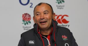 England head  coach Eddie Jones speaks to the media during a press conference at Pennyhill Park in Bagshot on Thursday. Photograph: Warren Little/Getty Images