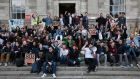 Students in Trinity College Dublin protesting over the implementation of flat rate €450 fee for repeat exams this week. Photo: Gareth Chaney Collins