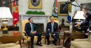 President Donald  Trump and Taoiseach Leo Varadkar: many children and grandchildren of Irish emigrants tend to row in behind the Republican Party. Photograph: Chris Kleponis