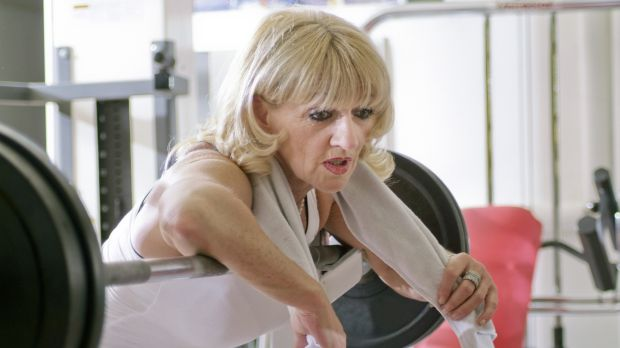 The women using barbells to lift themselves to strength and