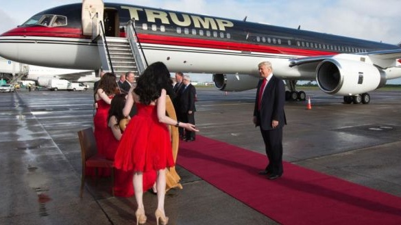 Red carpet: Donald Trump with his private jet after landing in Shannon airport in 2014, when the US presidential campaign was still in its early stages.