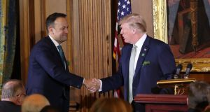 US president Donald Trump and  Taoiseach Leo Varadkar during the Speaker's Lunch at Capitol Hill in Washington DC. Photograph: Niall Carson/PA Wire