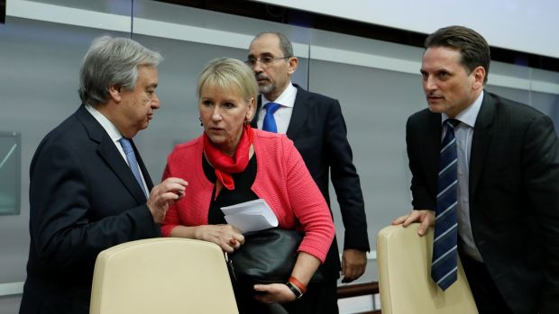 UN secretary-general Antonio Guterres (left), Swedish foreign minister Margot Wallstrom (centre) and Unrwa commissioner-General Pierre Krahenbuhl (right) at a news conference at the end of a summit to address the Palestinian Unwra funding crisis, at the UN Food and Agriculture Organisation HQ in Rome, Italy, on Thursday. Photograph: Remo Casilli/Reuters