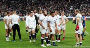 England players show their dejection at the final whistle after defeat to France in the Six Nations match at the Stade de France, Paris. When Ireland face a fast transitioning team from one side of the pitch in that zone we are vulnerable. Photograph: PA