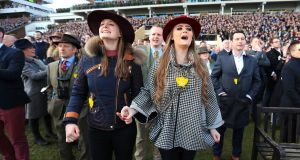Racegoers watch the JLT Novices' Chase at  the 2018 Cheltenham Festival: There are 25,000 annual horse movements between the UK, France and Ireland. Photograph: Mike Egerton/PA
