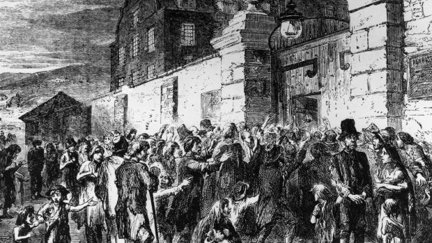 Illustration of starving peasants clamouring at the gates of a workhouse during the Irish potato famine, 1846. Photograph: Hulton Archive/Getty Images