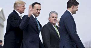 Leo Varadkar,  Donald Trump, House speaker Paul Ryan (right), and Representative Peter King, a Republican from New York, after the  Friends of Ireland lunch in Washington DC. Photograph: Andrew Harrer/Bloomberg