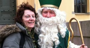 Emma Prunty with her Canadian husband dressed as St Patrick for the Oslo parade.