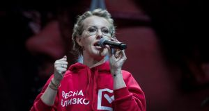 Russian presidential candidate and former TV star Ksenia Sobchak speaks at a big rally declaring her intention to create a new liberal party in Moscow on Thursday. Photograph: Evgeny Feldman/AP