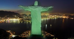 Top of the world, Ma: The Christ the Redeemer statue overlooking Rio de Janeiro in Brazil went green to mark St Patrick's Day in 2013. Photograph: Tourism Ireland