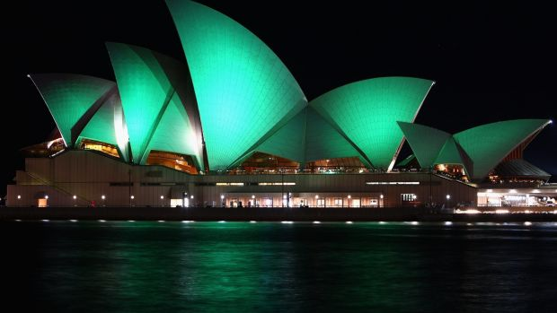 The Sydney Opera House is swathed in green light to mark St. Patrick's Day on March 17th, 2010. Photograph: Ryan Pierse/Getty Images