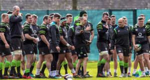 The Ireland squad during training at   Carton House, Co Kildare, ahead of their showdown with England. Photograph: Billy Stickland/Inpho