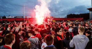 Scenes from  the  Munster Schools Senior Cup semi-final at Irish Independent Park, Cork, where  CBC beat rivals Pres 17-15. Photograph:  Laszlo Geczo/Inpho
