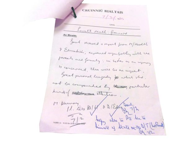 Handwritten note from government meeting on February 7th, 1984, about the Ann Lovett case