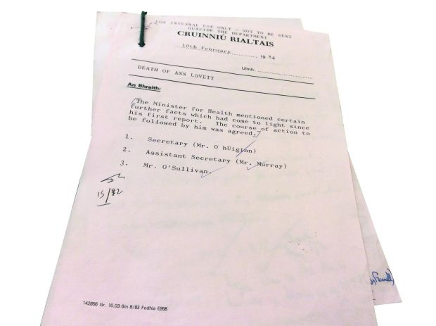 "A typed note from a government meeting on Februarty 10th, 1984, headed ""For internal use only. Not to be sent outside the department"""
