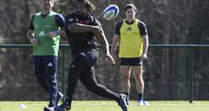France midfielder Mathieu Bastareaud takes part in a training session in  Marcoussis as part of the team's preparation for Saturday's Six Nations match against Wales in Cardiff.  Photograph: Alain Jocard/AFP/Getty Images