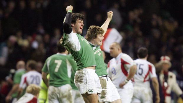 Ireland's Shane Horgan and captain Brian O'Driscoll celebrate beating England and winning the Triple Crown at Twickenham in 2006. Photograph: Stephen Hird/Reuters