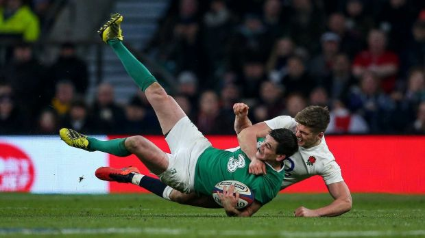 Ireland's Jonathan Sexton is tackled by England's Owen Farrell during the 2016 Six Nations. Photograph: Billy Stickland/Inpho
