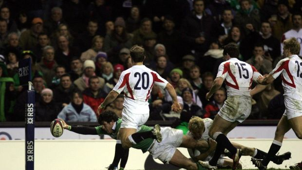 Ireland's Shane Horgan dives over to score their winning try during the Six Nations match against England at Twickenham in 2006. Photograph: David Davies/PA