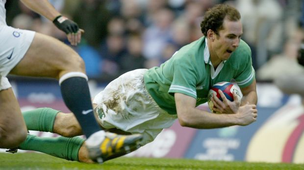 Ireland's Girvan Dempsey goes over for a try against England in the 2004 Six Nations. Photograph: Morgan Treacy/Inpho