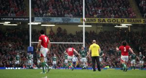 Stephen Jones of Wales kicks a last minute penalty that drops short of the posts in Cardiff in 2009. Photograph: Inpho
