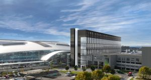 An artist's impression of the proposed four-star hotel linked to Dublin Airport's Terminal 2. Image: DAA