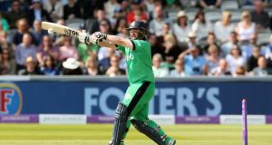 Paul Stirling top-scored for Ireland in the 107-run defeat to Zimbabwe at the World Cup qualifying event in Harare. Photograph:  Andrew Fosker/Inpho