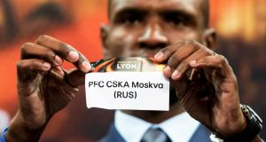 Arsenal's Russia tie: the team's Europa League quarter-final opponents, CSKA Moscow, are revealed by Éric Abidal at Friday's draw in Nyon. Photograph: Jean-Christophe Bott/EPA