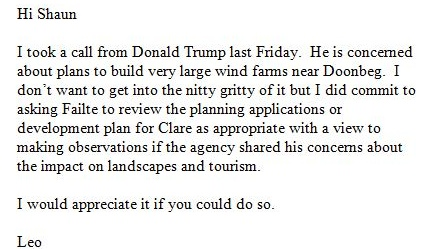 Email sent by Leo Varadkar, then minister for tourism and sport, to Fáilte Ireland chief executive Shaun Quinn on February 24th 2014