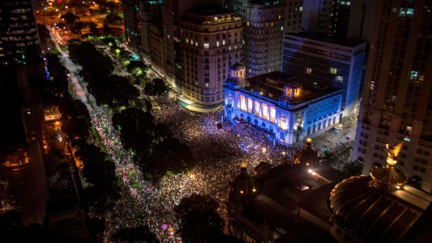 Aerial view of a massive demonstration against the murder of Brazilian councilwoman and activist Marielle Franco in front of Rio's Municipal Chamber, downtown Rio de Janeiro, Brazil, on Thursday night. Photograph: Mauro Pimentel/AFP/Getty Images