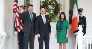 Taoiseach Leo Varadkar is greeted by US vice-president Mike Pence and wife Karen at a breakfast event in Washington. Photograph: Niall Carson/PA Wire