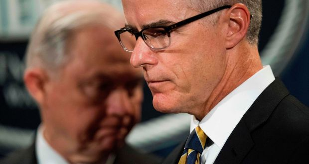 US attorney general fires former FBI deputy director Andrew