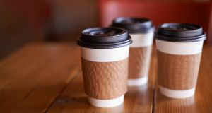 Around quarter of a million disposable coffee cups could be diverted from Irish landfill every day if a 15 cent levy on cups was introduced alongside other environmentally friendly measures. Photograph:  iStock